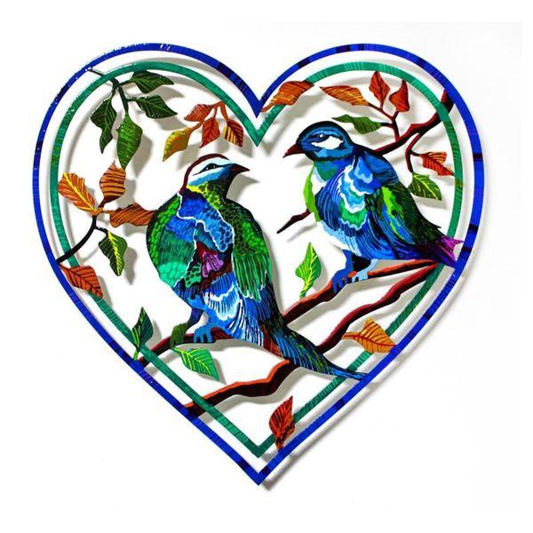 "Govezensky ""Love Birds XX"" Original Mixed Media on Metal"