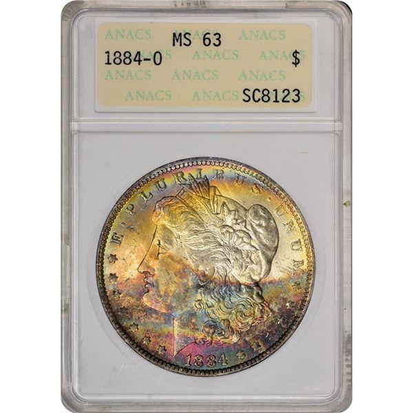 1884-O $1 Morgan Silver Dollar Coin ANACS MS63 Amazing Toning