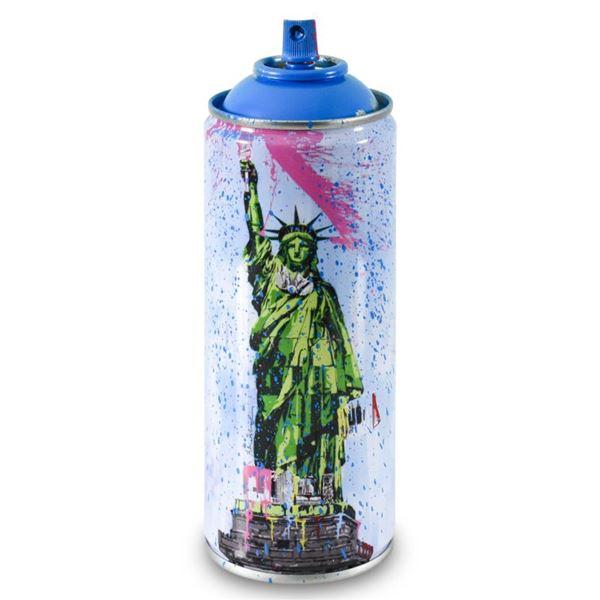 "Mr. Brainwash ""Liberty (Cyan)"" Hand Painted on Spray Can"