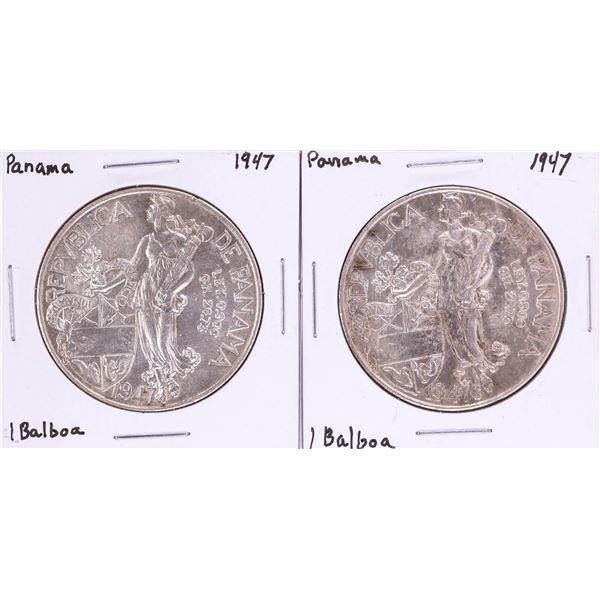 Lot of (2) 1947 Panama 1 Balboa Silver Coins