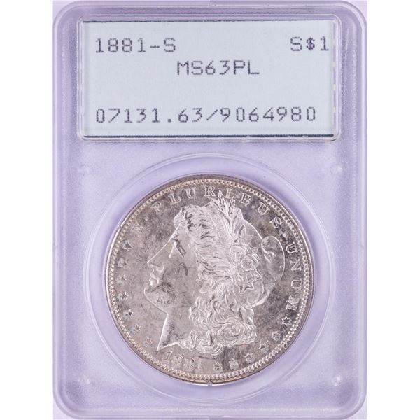1881-S $1 Morgan Silver Dollar Coin PCGS MS63PL Green Rattler Holder