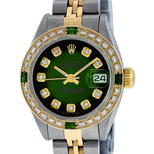 Rolex Ladies Two Tone Green Vignette Diamond Oyster Perpetual Datejust Watch