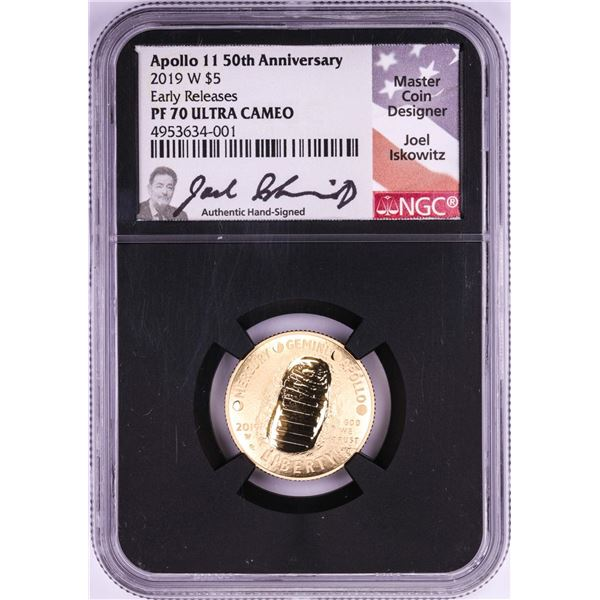 2019-W $5 Proof Apollo 11 50th Anniversary Gold Coin NGC PF70 Ultra Cameo ER Signed