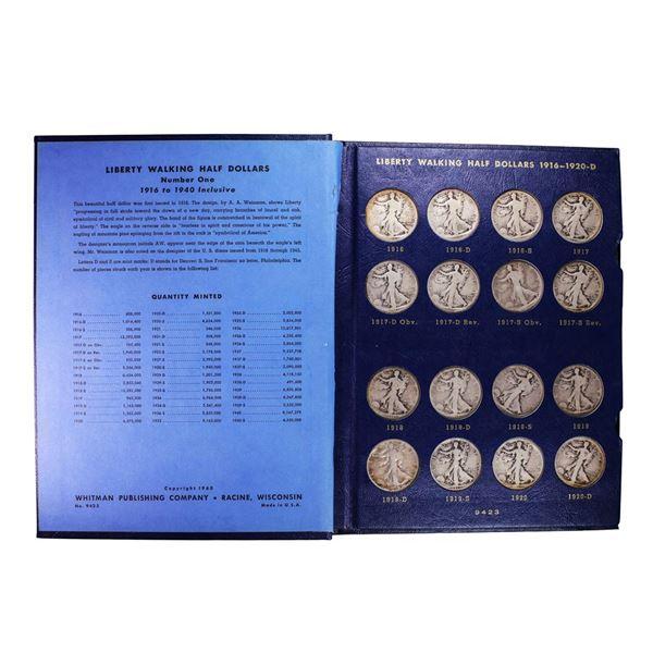 1916-1940 Walking Liberty Half Dollar Coin Set in Folders