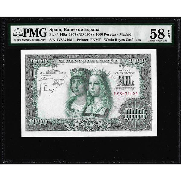 1950's Spain Banco de Espana 1,000 Pesetas Note Pick# 149a PMG Choice About UNC 58EPQ