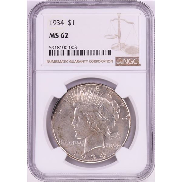 1934 $1 Peace Silver Dollar Coin NGC MS62