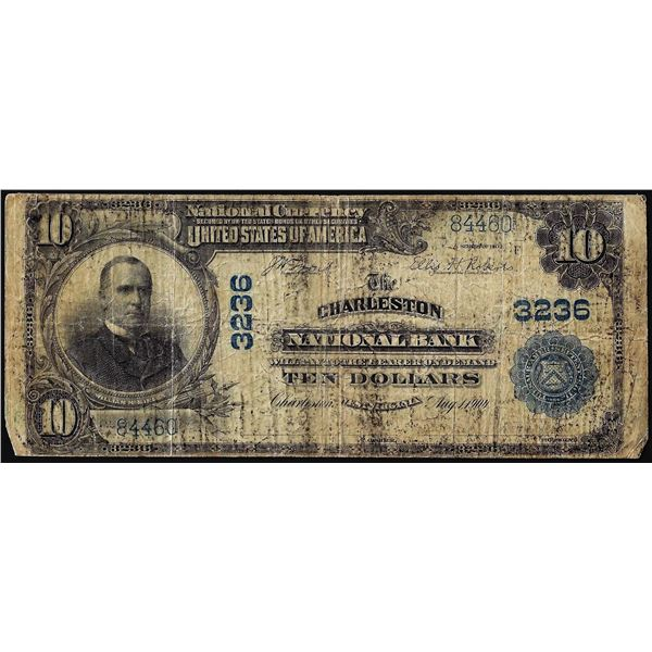 1902PB $10 Charleston National Bank West Virginia CH# 3236 National Currency Note