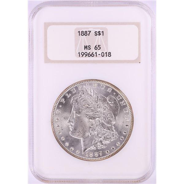1887 $1 Morgan Silver Dollar Coin NGC MS65 Old Fatty Holder