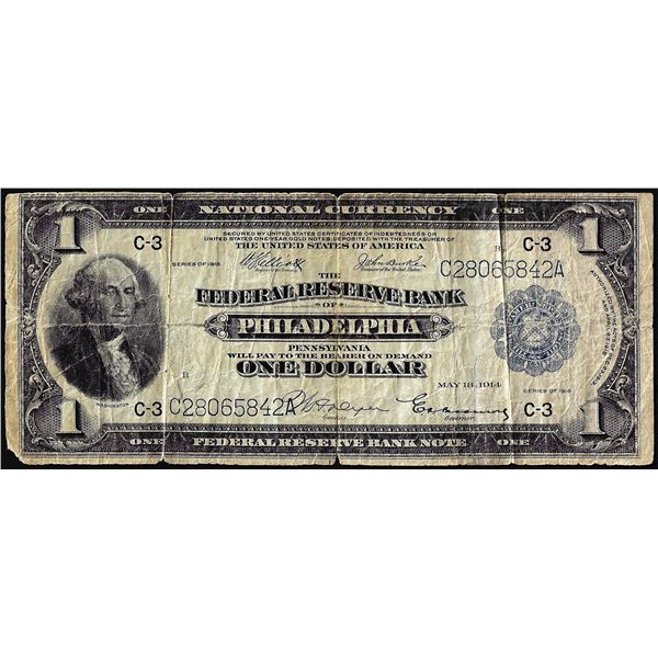 1918 $1 Federal Reserve Bank Note Philadelphia