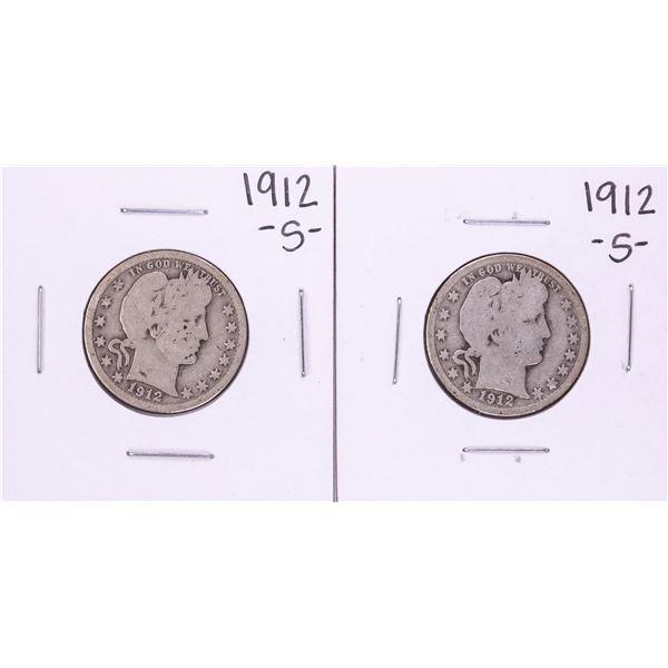 Lot of (2) 1912-S Barber Quarter Coins