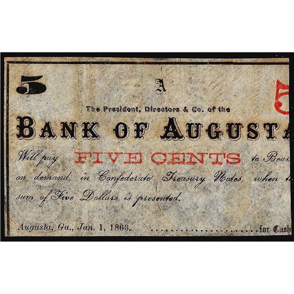 1863 Bank of Augusta Five Cents Obsolete Bank Note