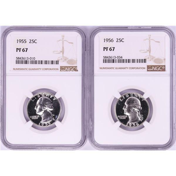 Lot of 1955-1956 Proof Washington Quarter Coins NGC PF67