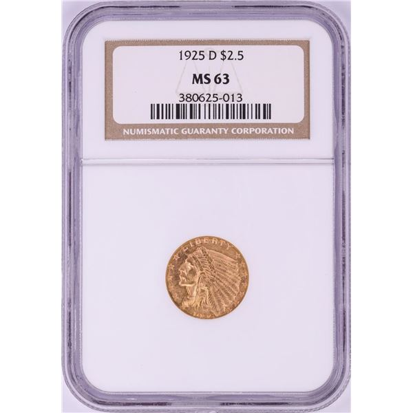 1925-D $2 1/2 Indian Head Gold Coin NGC MS63