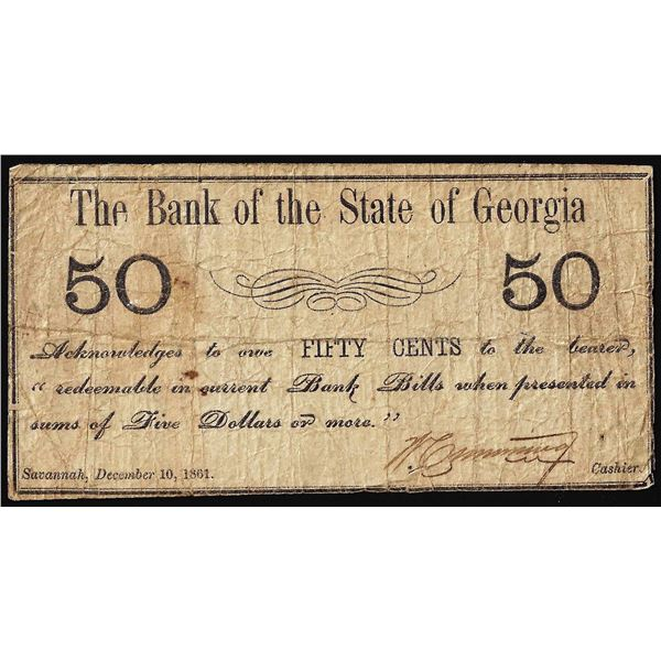 1861 Fifty Cents Bank of the State of Georgia Obsolete Note