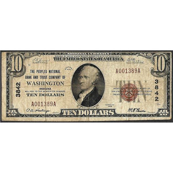 1929 $10 Peoples NB and Trust Co. of Washington, IN CH# 3842 National Currency Note