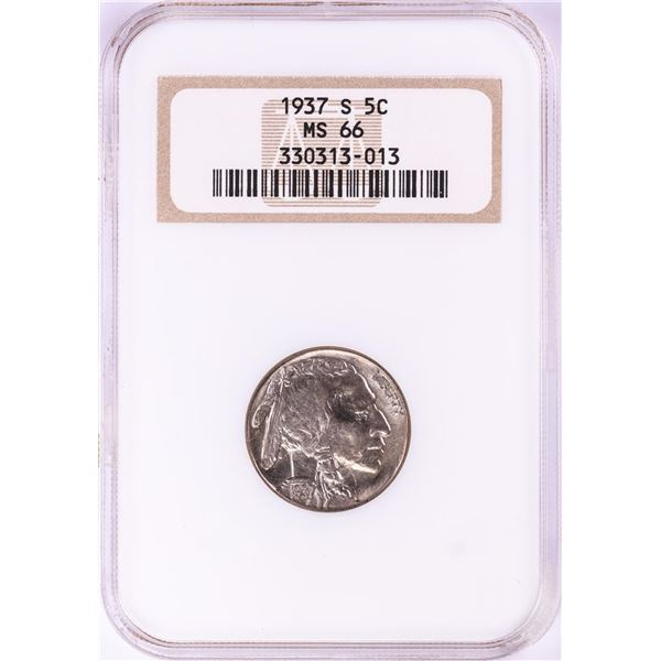 1937-S Buffalo Nickel Coin NGC MS66 Old Fatty Holder
