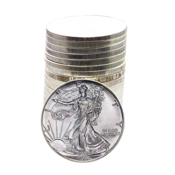 Roll of (20) Brilliant Uncirculated 1994 $1 American Silver Eagle Coins