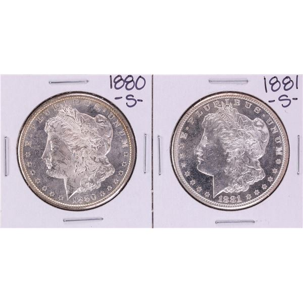 Lot of 1880-S & 1881-S $1 Morgan Silver Dollar Coins