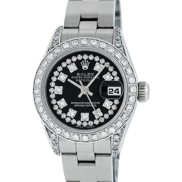 Rolex Ladies Stainless Steel Black Diamond Oyster Quickset Datejust Wristwatch