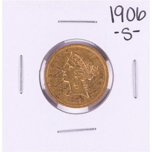 1906-S $5 Liberty Head Half Eagle Gold Coin Graffiti