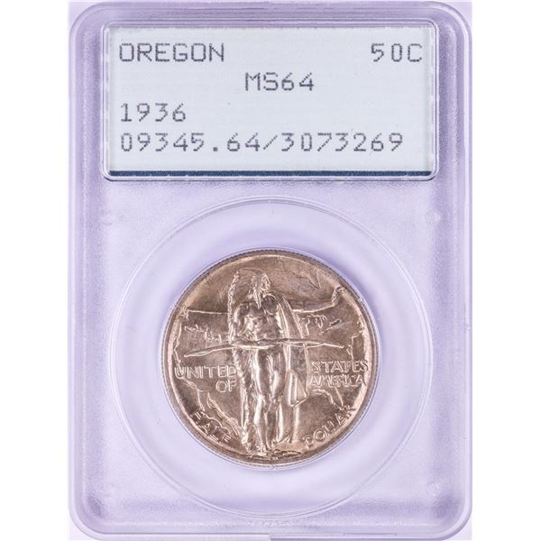 1936 Oregon Trail Commemorative Half Dollar Coin PCGS MS64 Old Green Rattler