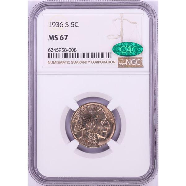 1936-S Buffalo Nickel Coin NGC MS67 CAC