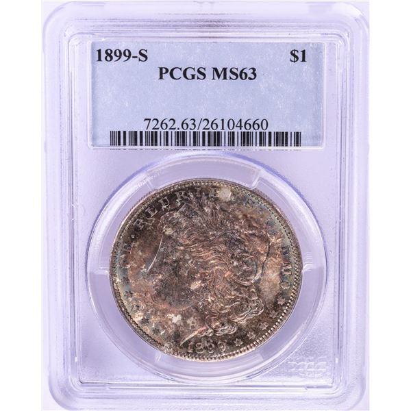 1899-S $1 Morgan Silver Dollar Coin PCGS MS63 Nice Toning