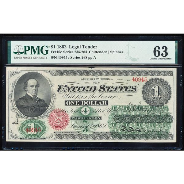 1862 $1 Legal Tender Note Fr.16c PMG Choice Uncirculated 63