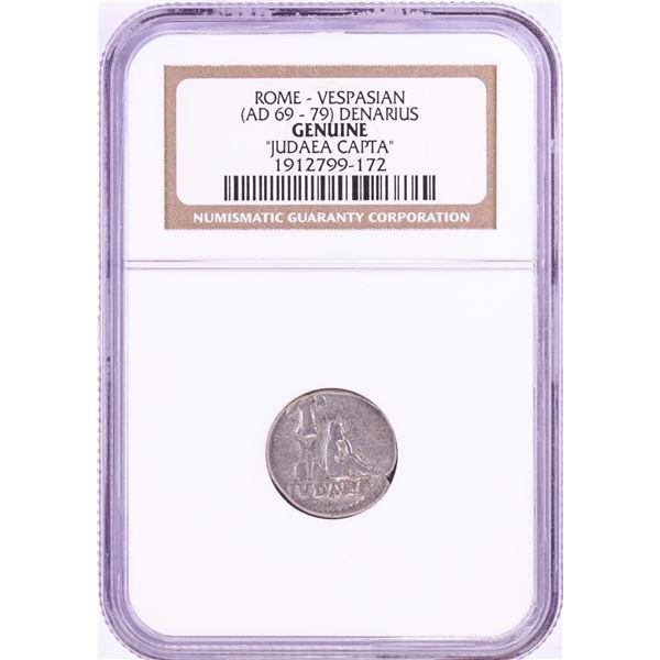 69-79 AD Rome Vespasian Denarius Judaea Capta Ancient Coin NGC Genuine