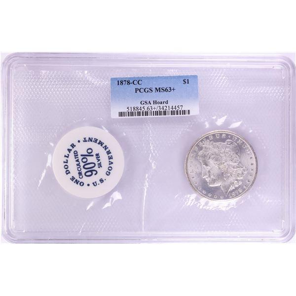 1878-CC $1 Morgan Silver Dollar Coin GSA Hoard Soft Pack PCGS MS63+