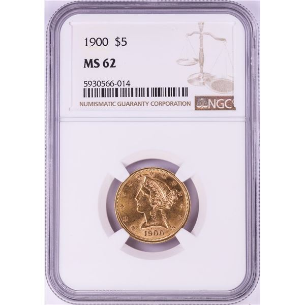 1900 $5 Liberty Head Half Eagle Gold Coin NGC MS62