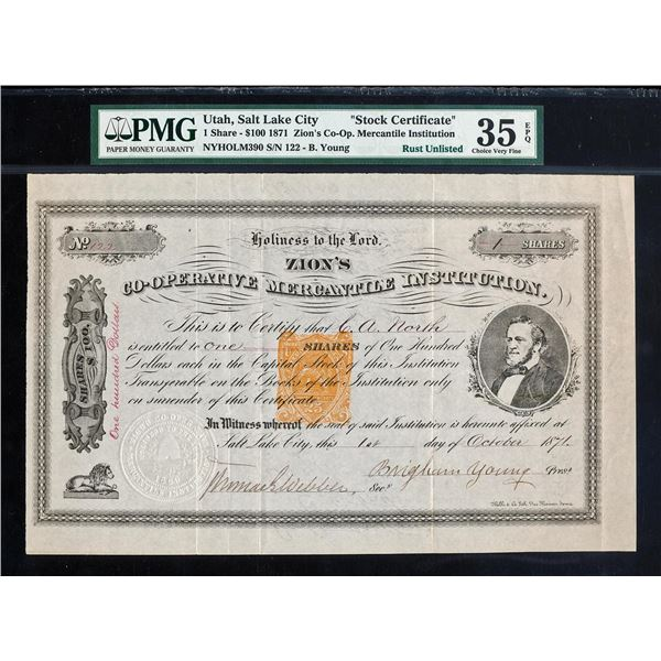 "1871 ""Brigham Young"" Signed Stock Zion's Co-Op Institution PMG CH Very Fine 35EPQ"