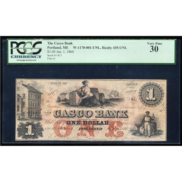 1860 $1 The Casco Bank Portland, ME Obsolete Bank Note PCGS Very Fine 30