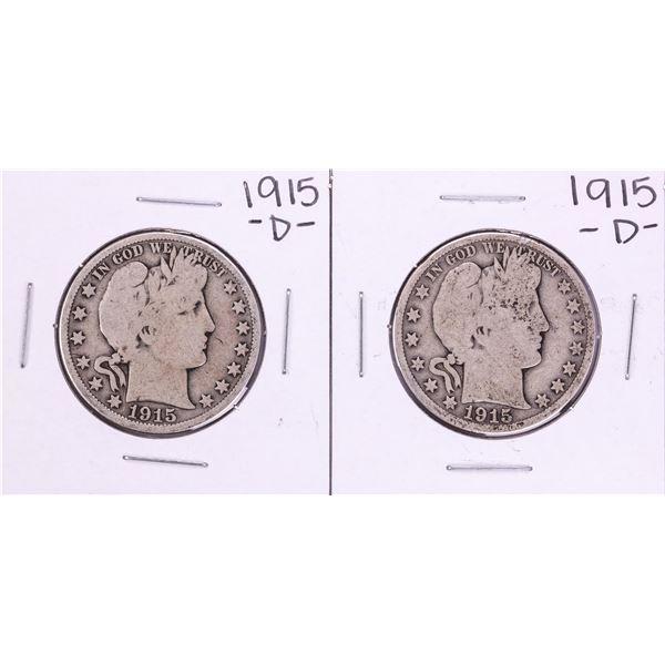 Lot of (2) 1915-D Barber Half Dollar Coins