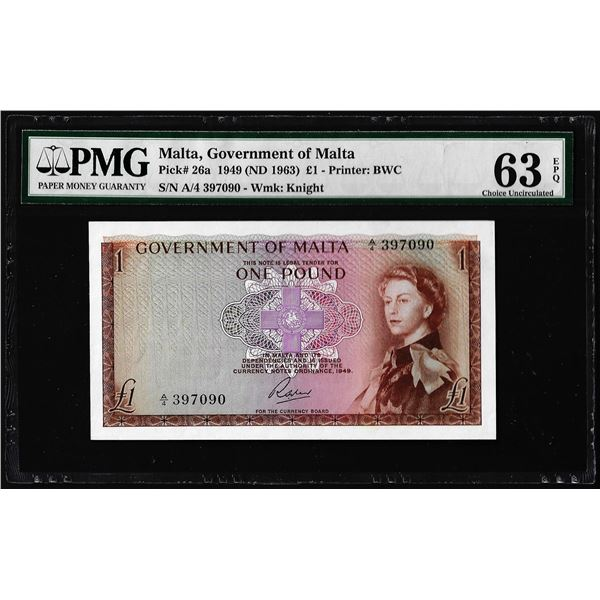 1949 Malta 1 Pound Note Pick# 26a PMG Choice Uncirculated 63EPQ