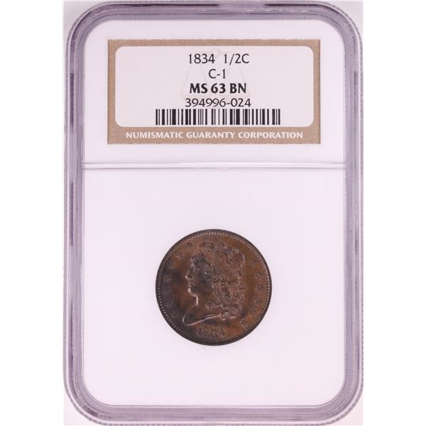 1834 C-1 Classic Head Half Cent Coin NGC MS63BN