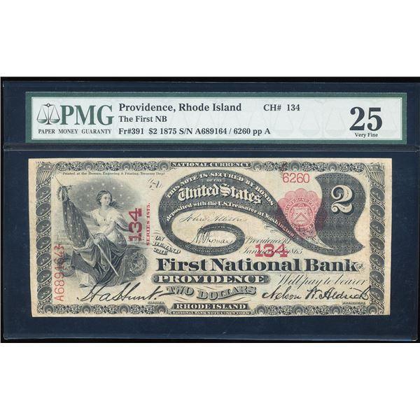 1875 $2 Lazy Deuce Providence, Rhode Island CH# 134 National Note PMG Very Fine 25