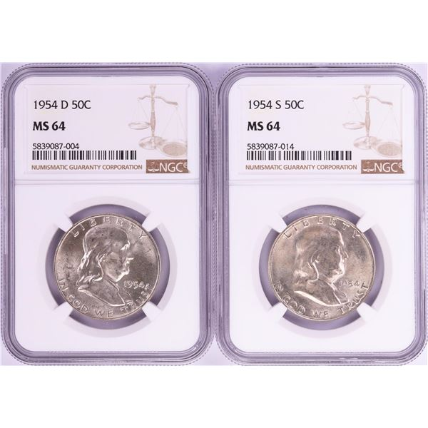 Lot of 1954-S & 1954-D Franklin Half Dollar Coins NGC MS64
