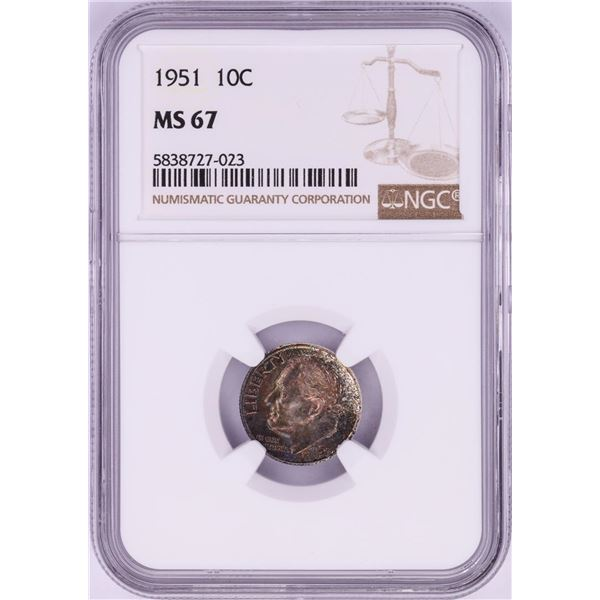 1951 Roosevelt Dime Coin NGC MS67 Nice Toning