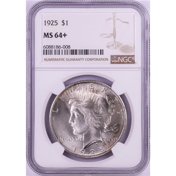 1925 $1 Peace Silver Dollar Coin NGC MS64+
