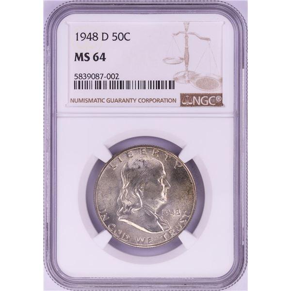 1948-D Franklin Half Dollar Coin NGC MS64