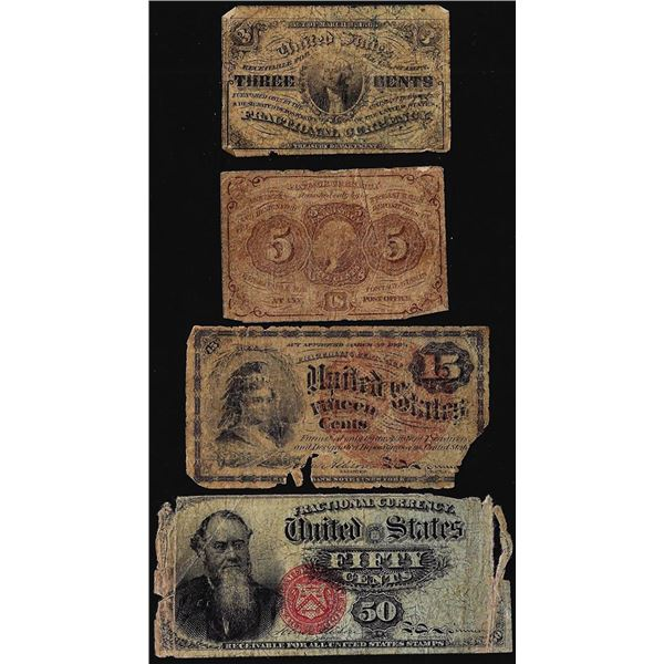 Lot of (4) 1860's Miscellaneous Fractional Currency Notes