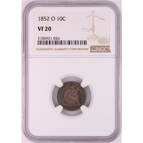 1852-O Seated Liberty Dime Coin NGC VF20