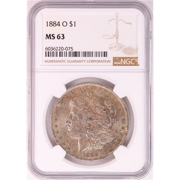 1884-O $1 Morgan Silver Dollar Coin NGC MS63 Nice Toning