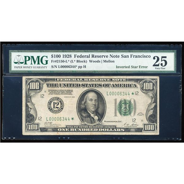 1928 $100 Federal Reserve STAR Note Inverted Star ERROR PMG Very Fine 25