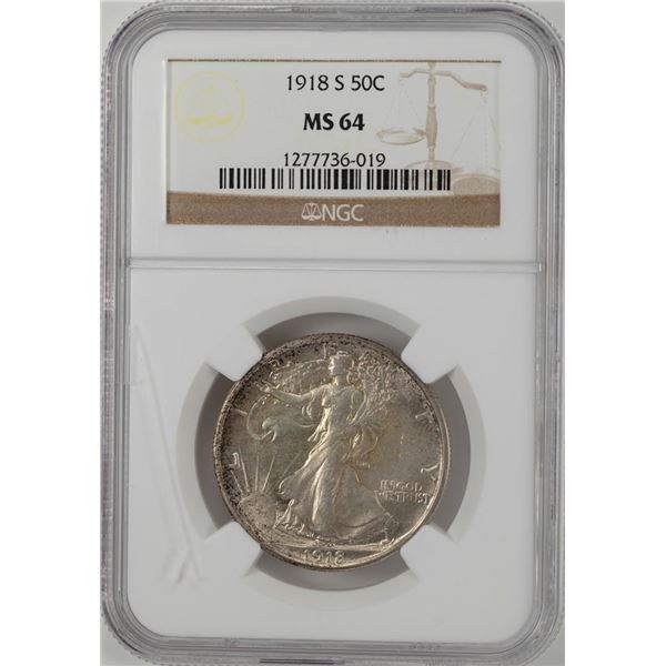 1918-S Walking Liberty Half Dollar Coin NGC MS64