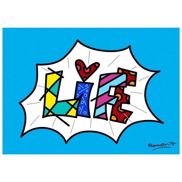 "Romero Britto ""Life Blue Mini Word"" Giclee"