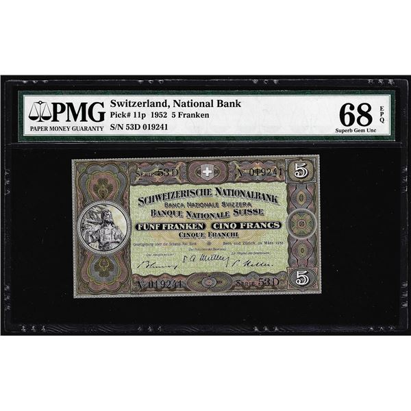 1952 Switzerland 5 Franken Note Pick# 11p PMG Superb Gem Uncirculated 68EPQ