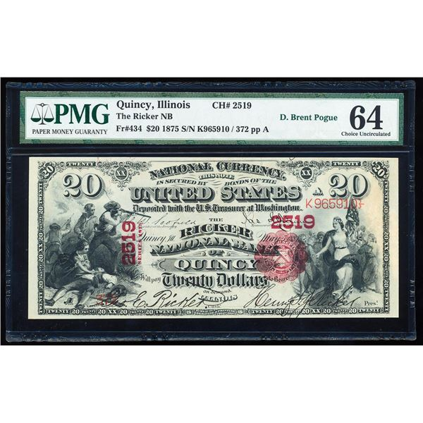 First Charter 1875 $20 Ricker NB of Quincy, IL CH# 2519 National Note PMG Ch. Unc. 64