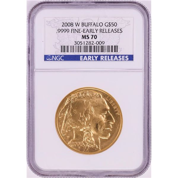 2008-W $50 American Buffalo Gold Coin NGC MS70 Early Releases